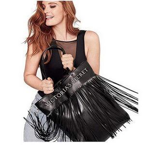 Victorias Secret Black Fringed Tote Bag NWT Flirty
